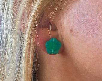 Seafoam Green Flower Stud Earrings