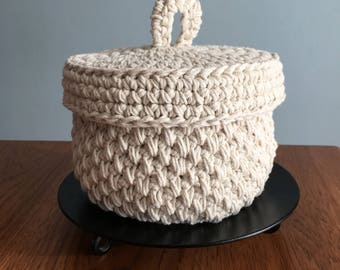 Natural twine lidded crochet basket handmade-cotton twine lid storage basket-bathroom basket-nursery basket