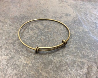 Antique bronze double loop Adjustable wire bangle bracelet blanks Sold by the piece alloy metal expandable wire bangle bracelet