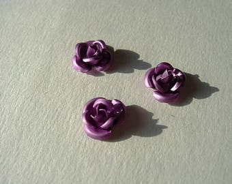 Set of 3 small metal roses size 1 cm