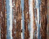 Brown and blue striped sk...