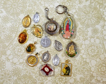 Religious Supply LOT of 15 Religious Medals Pendants Assorted Styles Repurposing Lot Reuse Lot Religious Destash Lot Medal Lot #3676