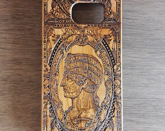 Cell Phone Case, Wooden iPhone Case, Samsung Galaxy Case Laser Engraved, Symbolic Head iPhone 8 Plus Cover, Samsung Note 8 Case, iPhone X