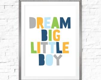 Kids wall art, Boy wall quote, Little boy nursery print, Baby boy room decor, Baby boy nursery, Dream big little boy, Little man baby shower