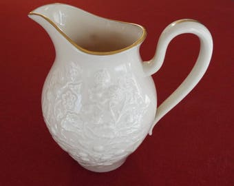 Vintage Lenox Pitcher Embossed Blackberry Pattern Ivory With Gold Trim