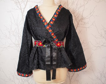 Kimono top in silk brocade, size 40-42 or us 12-14