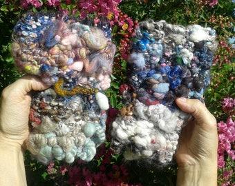 """Folklore"", handspun yarn, multicolor fingerless gloves arm warmers."