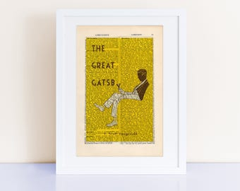The Great Gatsby by F Scott Fitzgerald Print on an antique page, book cover art, book lover gift