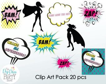 Superhero Girl Digital Scrapbooking Clip Art, Buy 2 Get 1 FREE. Instant Download