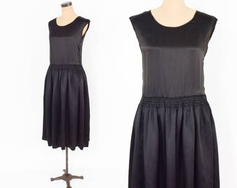 30s Silk Dress | Black Silk Sleeveless Drop Waist Flapper Dress | Jean Carol | Small