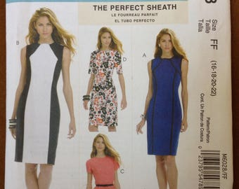 McCalls 6028 - Princess Seam Sheath Dress with High Round Collar - Size 16 18 20 22