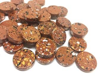 Burnt Orange Beads, painted Beads, 20mm Beads, circular acrylic beads, bracelet necklace earrings, jewelry making, bangle beads, dark orange