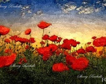 A Field of Poppies Impressionism Original Artwork Print-by Sherry Rachelle-Digital Download