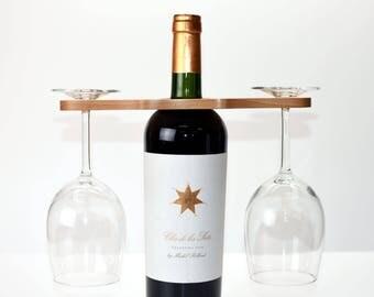 Wine Bottle Topper  - Wine Caddy - Wine Glass Caddy - Wine Glass Holder - Wine Carrier