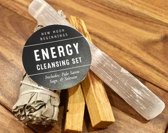 Energy Cleansing Smudge Kit - palo santo, white sage stick, & raw selenite wand - smudge stick kit -  sage smudge bundle - energy cleanse