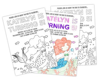 Mermaid Birthday Invitations - Color Your Own Invitation - Under The Sea Birthday - Girl Invitation Kit - Personalized Mermaid Party Kit