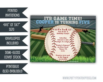Baseball Invitations - Baseball Birthday Invitation - Little Slugger Baseball Birthday Invites - Home Run Boy Birthday Invite Stadium