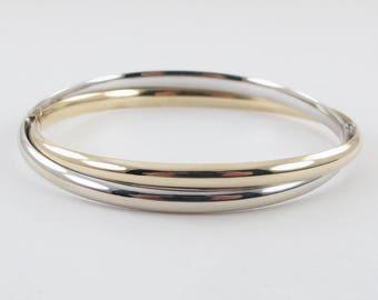 "14K Yellow And White Gold Bangle Bracelet 8 "" 11.2 grams"