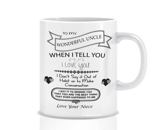 Niece to Uncle mug - Niece to Uncle gifts - To My Wonderful uncle ...