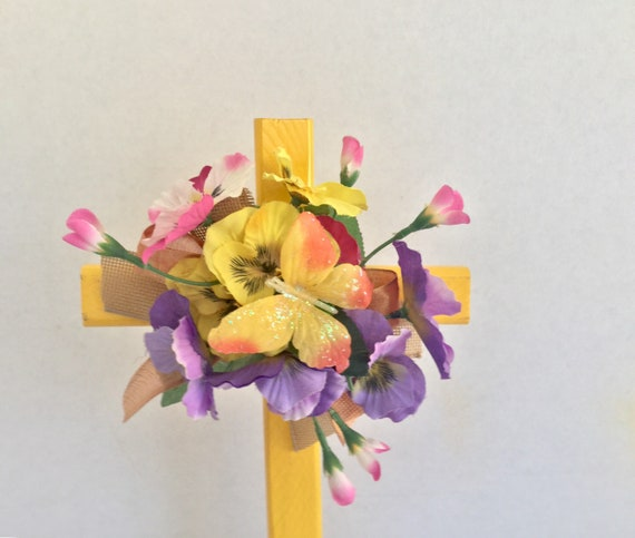 Easter Cemetery cross with flowers, Easter grave decoration, memorial cross, flowered cross, Floralmemorials,