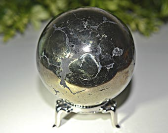Pyrite With Black Hematite Sphere , Pyrite Sphere 59 MM