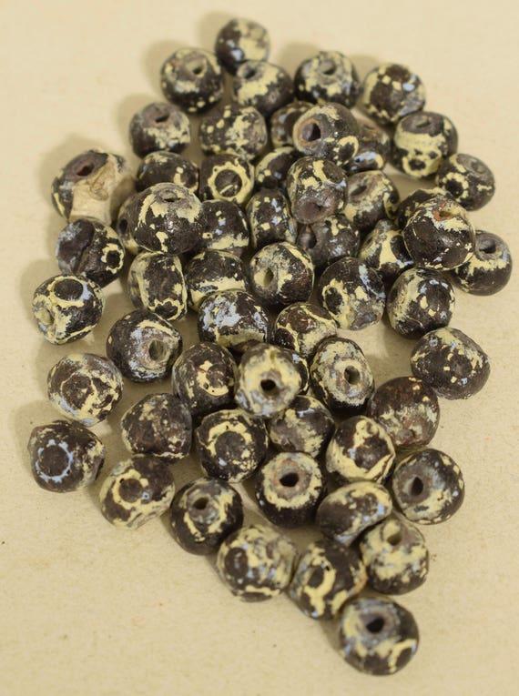 Beads Black Yellow Clay Round Ceramic Beads 10mm