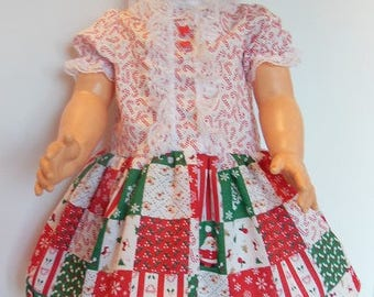 """Candy Cane Patchwork Print Dress Set for 30"""" Effanbee Mary Jane Dolls"""