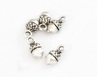 Acorn charms silver antique set of 5