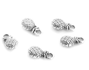 Pineapple set of 5 silver color charms