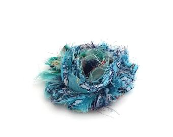 Frayed fabric blue flower / FE53