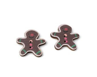 Set of 2 Christmas gingerbread snowman wooden buttons