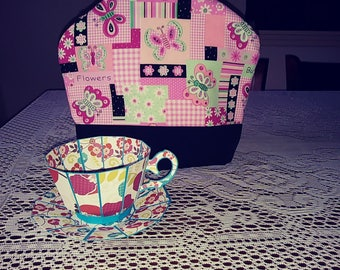 Butterflies and flowers pink and green tea cozie handmade pinklady cottage