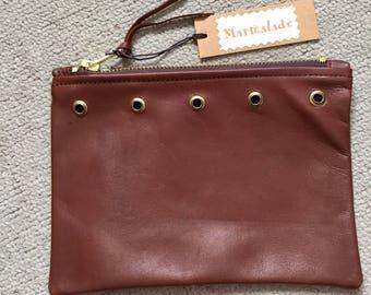 Handmade Soft Brown Leather Purse / clutch