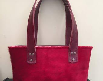 Red hair On Hide Leather Handbag