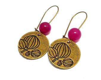 Earrings Pink Pearl flower Stud Earrings