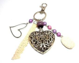 A scent! door keys or bag silver charm, heart and pink and purple beads