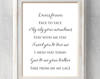 Leather and lace etsy stevie nicks print leather and lace song lyrics don henley lovers forever stopboris Images