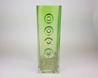 XL green Schott Zwiesel glass vase