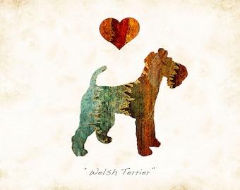 Welsh Terrier Dog Breed Watercolor Art Print Signed by Dan Morris, Choose color, Add dog's name option, In Loving Memory Option