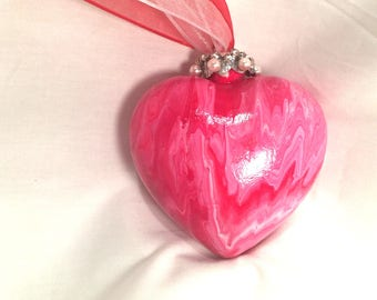 Red White Swirl Hand Paint Acrylic Pour Heart Ornament Ribbon Pearls Rhinestones