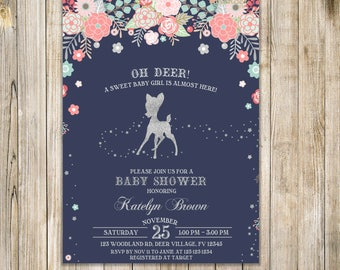 Oh DEER BABY SHOWER Invitation, Girl Woodland Baby Shower Invite, A Little Doe Invite, Rustic Woodland Deer, Navy Silver Pink Floral Invite