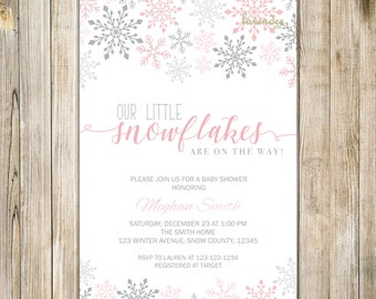 LITTLE SNOWFLAKES On The Way Baby Shower Invitation, Pink Silver Snowflake Baby Girl Shower Invite, Winter Baby Shower Twins, Twin Shower