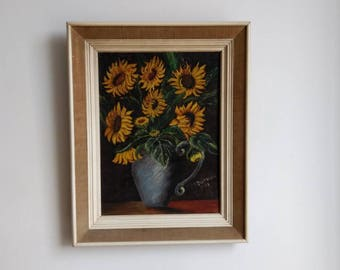 French Retro sunflowers in vase painting, oil on wood panel, framed and signed 1973.