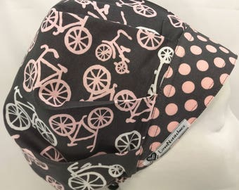Bike Ride Scrub Hats for Women Surgical Cap Bouffant Tech Nurse Caps OR Surgery Hat Gray Light Pink Bicycles LoveNstitchies Cath Lab X-Ray