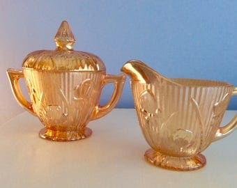 Carnival Glass Vintage Creamer and Covered Sugar Bowl