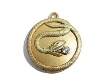 Antique French 18 Carat Gold Snake Locket With Diamond
