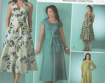 Simplicity 2888 Vintage Pattern Womens Halter Dress or Pull Over Dress in Variations SIze 16,18,20,22,24 UNCUT
