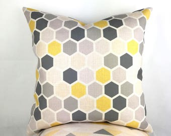 Grey Cushions, Hexagon cushion, Grey yellow cushion, Grey Geometric Cushion, Cushions, Pattern Cushion, Large grey cushion, Throw Pillows