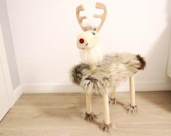 Toddler Christmas Gift  | Reindeer Toy |  Wooden Reindeer bench for a toddler | Children Furniture  | Kids Stool  | Toddler stool  | Ottoman