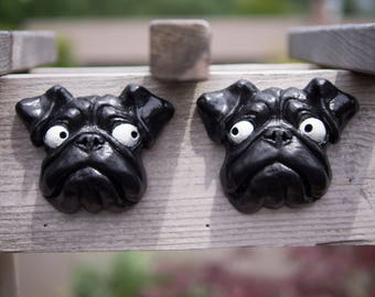 Matched Pair - Black Pug Puppy Statues